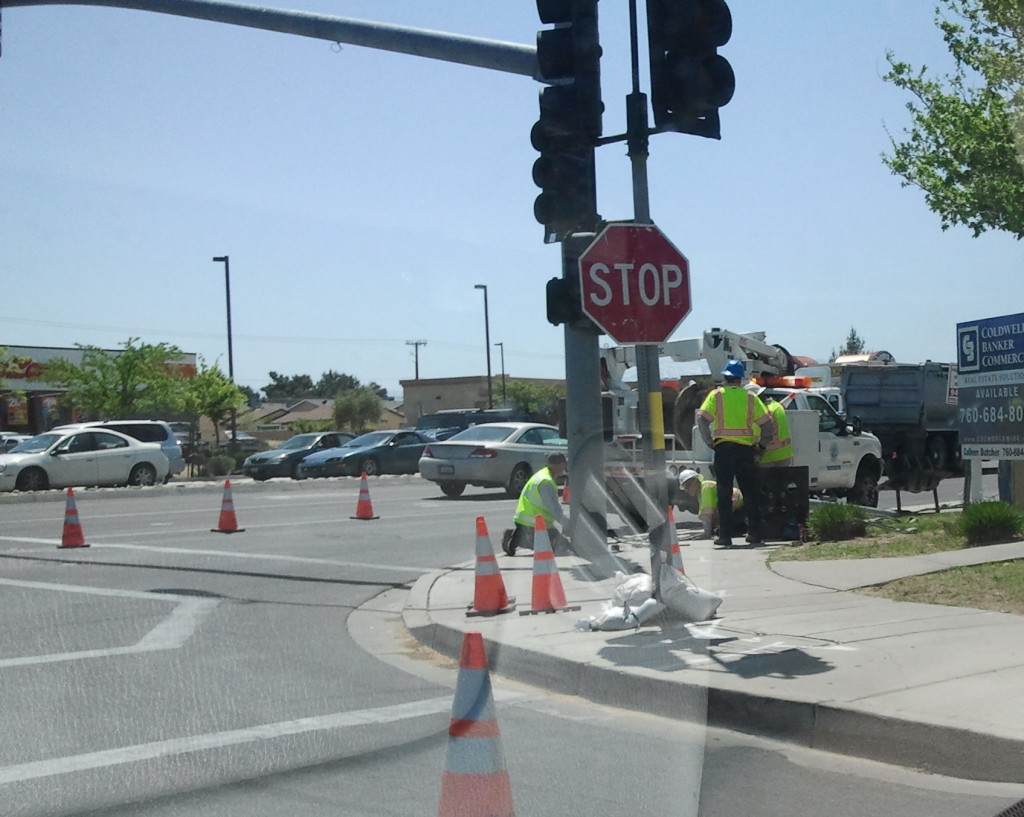 Traffic Delays On Bear Valley Road As Replacement Signal Pole Is Installed
