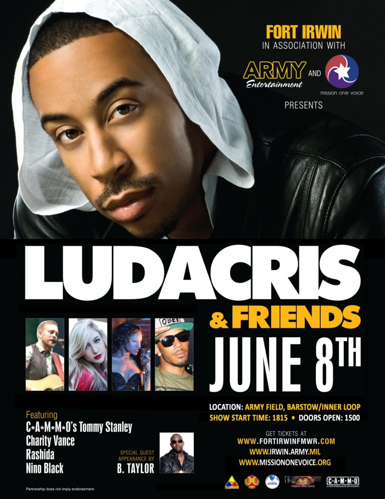 Grammy Award Winning Artist Ludacris to Perform At Fort Irwin, June 8