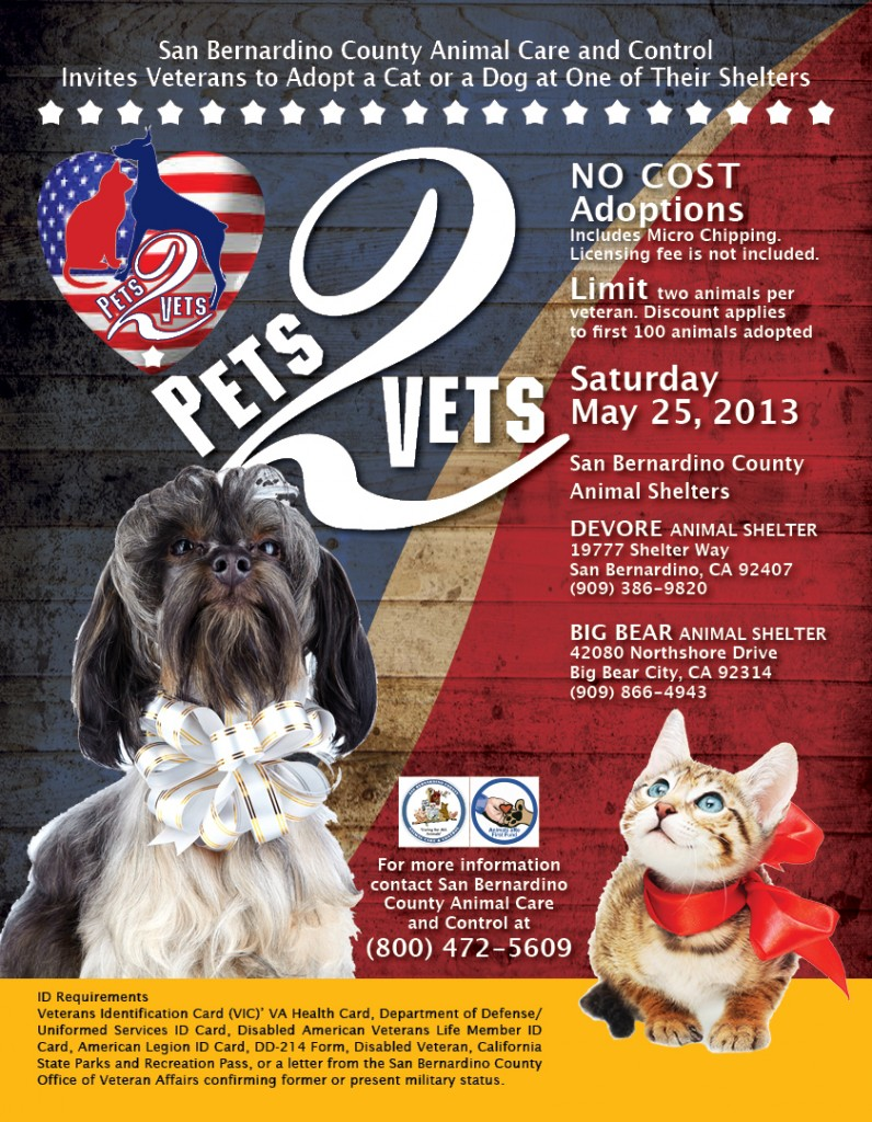Animal Care and Control To Have Free Pet Adoptions For Veterans During Memorial Day Weekend