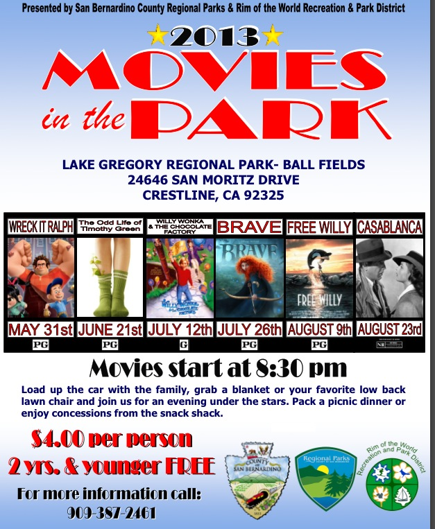 Lake Gregory Welcomes Back  Movies In The Park
