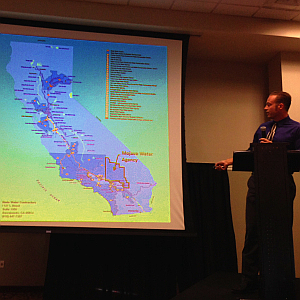 Mojave Water Agency Principal Geologist Lance Eckhart discusses whether or not the High Desert has enough water to grow. Photograph by Jim E. Winburn.