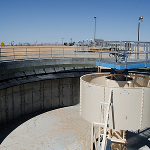 One of two 70-foot diameter secondary clarifiers as part of Adelanto's Wastewater Treatment Plant upgrades - Courtesy of PACE Water.