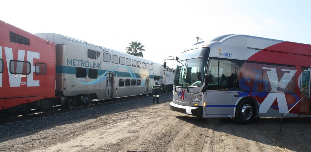 Train & sbX bus together