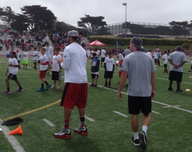 Sophomore Quarterback Paul Mroz and San Francisco 49er's Quarterback Colin Kapernick demonstrate throwing mechanics to campers