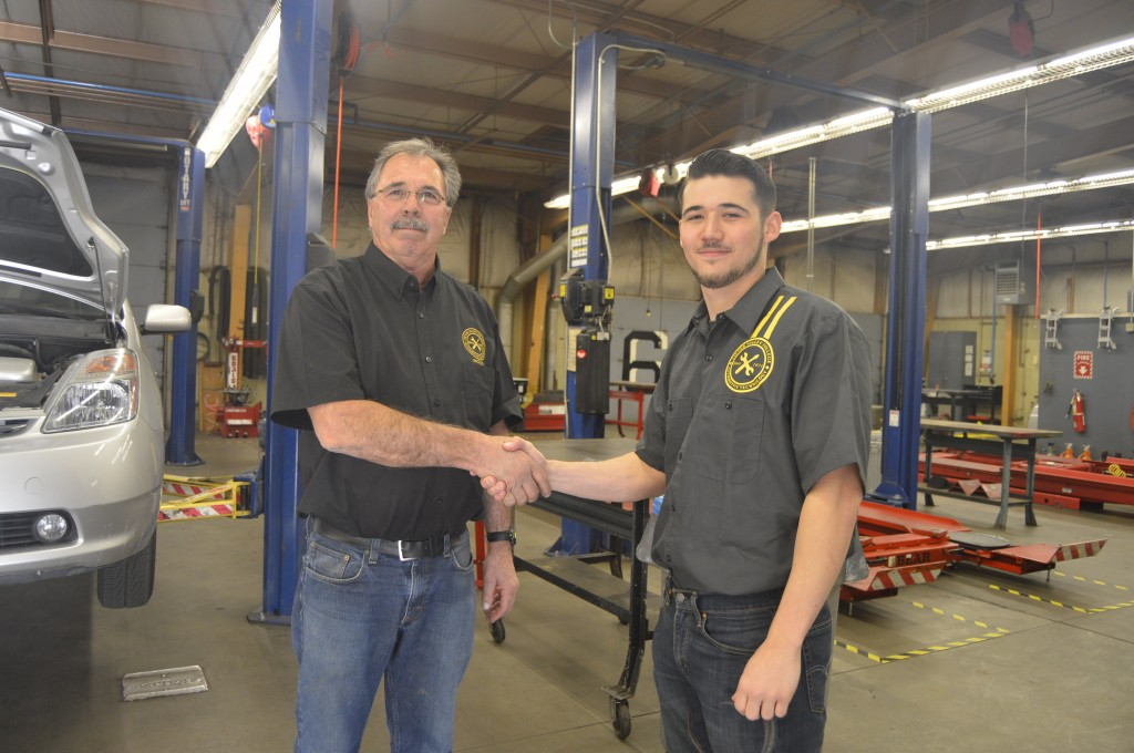 Victor Valley College Automotive Department Chair, John Sweet and Auto Park Intern Justin Comstock.