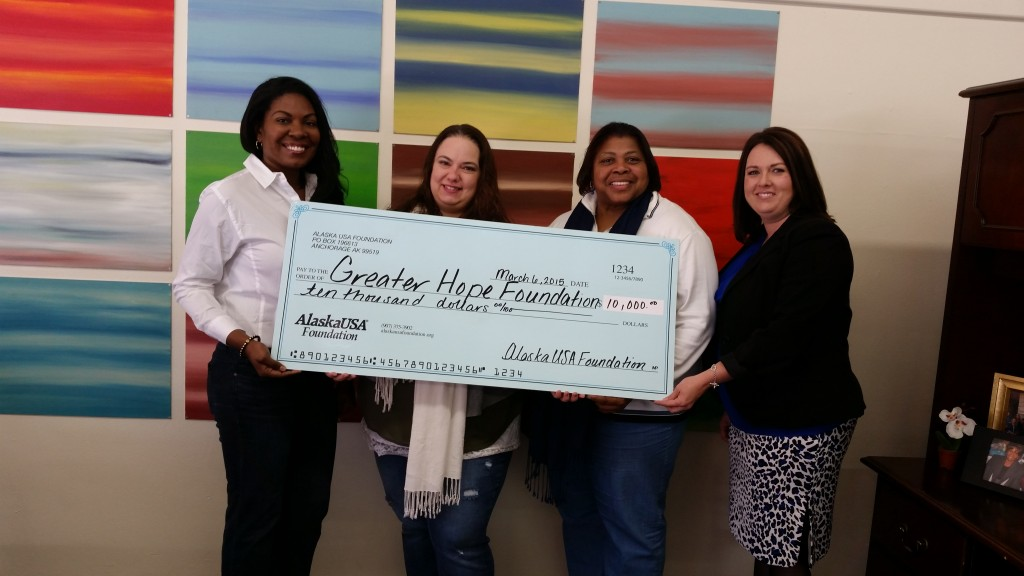 The Alaska USA Foundation has donated $10,000 to support the Greater Hope Foundation. Pictured (from left) are Greater Hope Foundation Executive Director Helena Smith, Social Worker Supervisor Shea Wyman, Program Manager Debra Benjamin, and Alaska USA Barstow Branch Manager Jessica Sims.