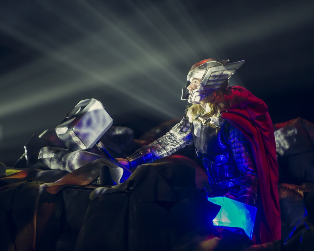 Thor holds the Cosmic Cube, the source of ultimate power. Photo courtesy of Feld Entertainment.