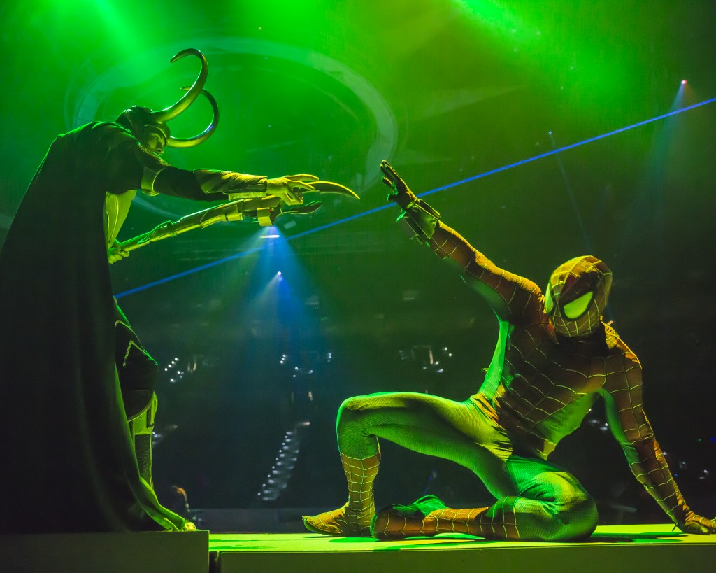 Spider-Man fights back as Loki attempts to use his mind tricks. Photo courtesy of Feld Entertainment.