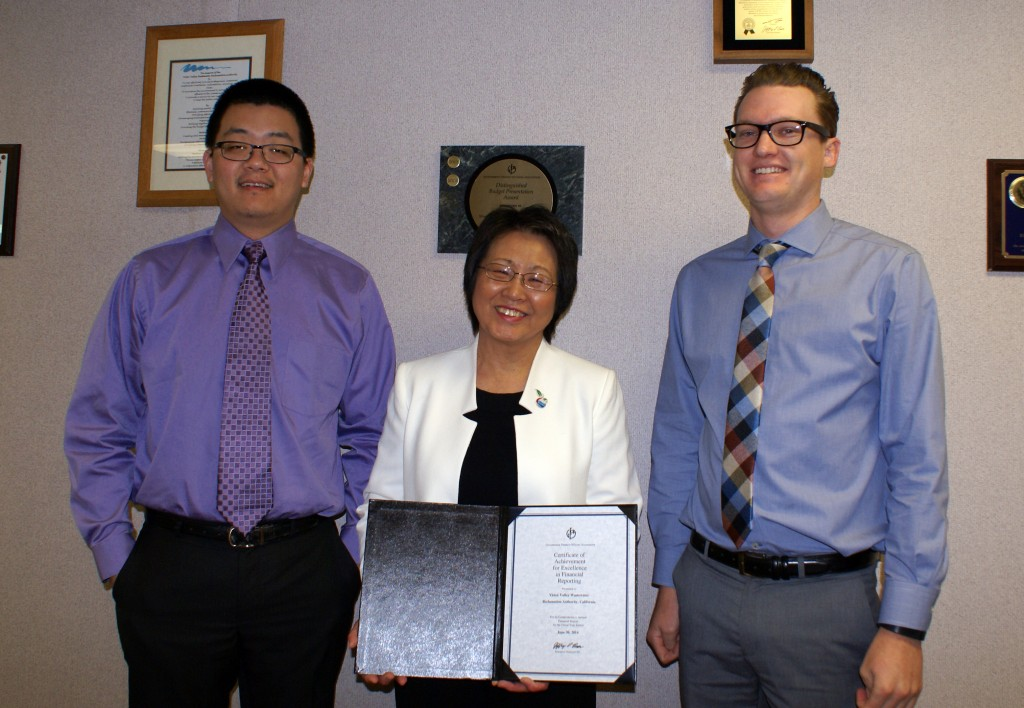 Left to right: Xiwei Wang, Accountant, Chieko Keagy, Accounting Supervisor, Kyle Parker, Accounting Technician.