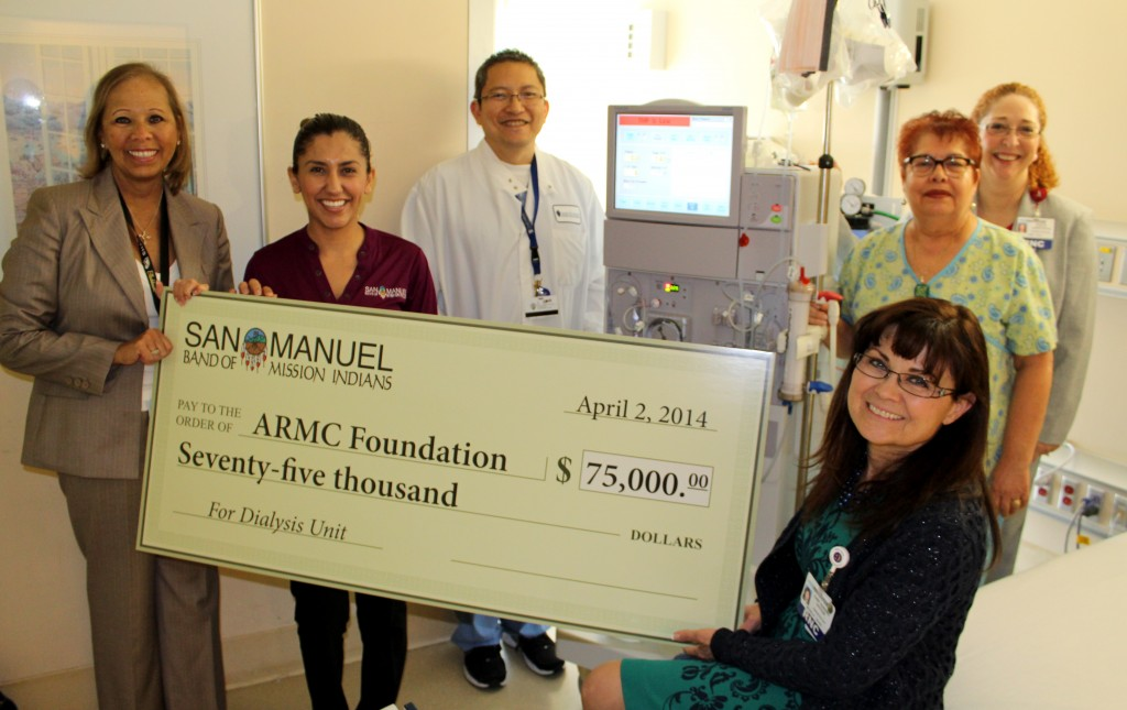From left: Patty Holohan, ARMC foundation director; Mindy Silva, community outreach representative, San Manuel Band of Mission Indians; Edgar Chan, interim dialysis director; Virginia Ramirez, RN; Tammy Isaac, assistant hospital administrator; and (front, seated), Michelle Sayre, RN, PhD, chief nursing officer.