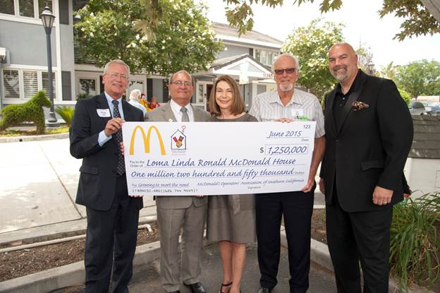 From left to right: George Ball (board chair, Ronald McDonald House Charities of Southern California), Mike Kovack (executive director, Loma Linda Ronald McDonald House), Candace and Tom Spiel (McDonald's owner/operators) and Derek Hanson (board chair, Loma Linda Ronald McDonald House).