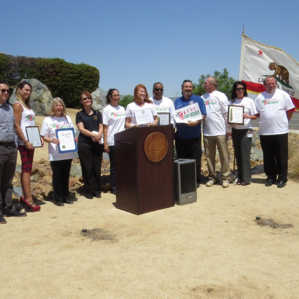 "Representatives gather for a group photo at ""Don't Trash Our Desert"" rally held at Victor Valley College."