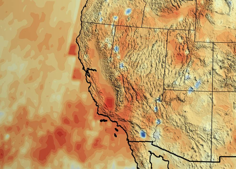 "California's accumulated precipitation ""deficit"" from 2012 to 2014 shown as a percent change from the 17-year average based on TRMM multi-satellite observations. Credits: NASA/Goddard Scientific Visualization Studio"