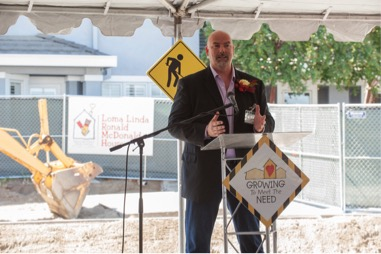 Derek Hanson, Loma Linda Ronald McDonald House board chair, welcomed attendees and thanked donors whose contributions will help increase the number of rooms at the House from 21 to 54.