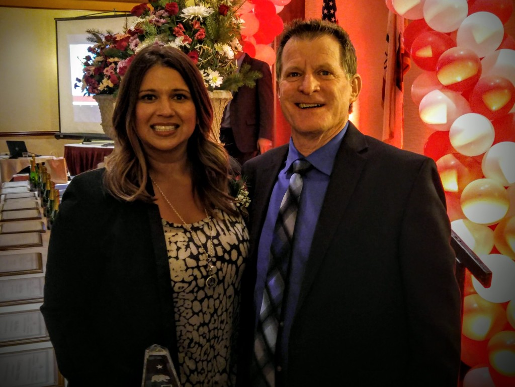 California League of Middle Schools Region 10 Educator of the Year Andrea Gonzalez, left, poses with Lakeview Leadership Academy Principal Lonnie Keeter, who nominated her for the award. Photo submitted by VVUHSD