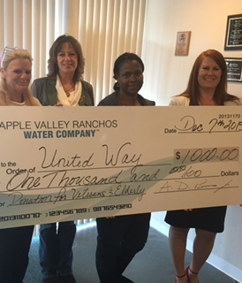 Donation to United Way for Elderly & Veterans.