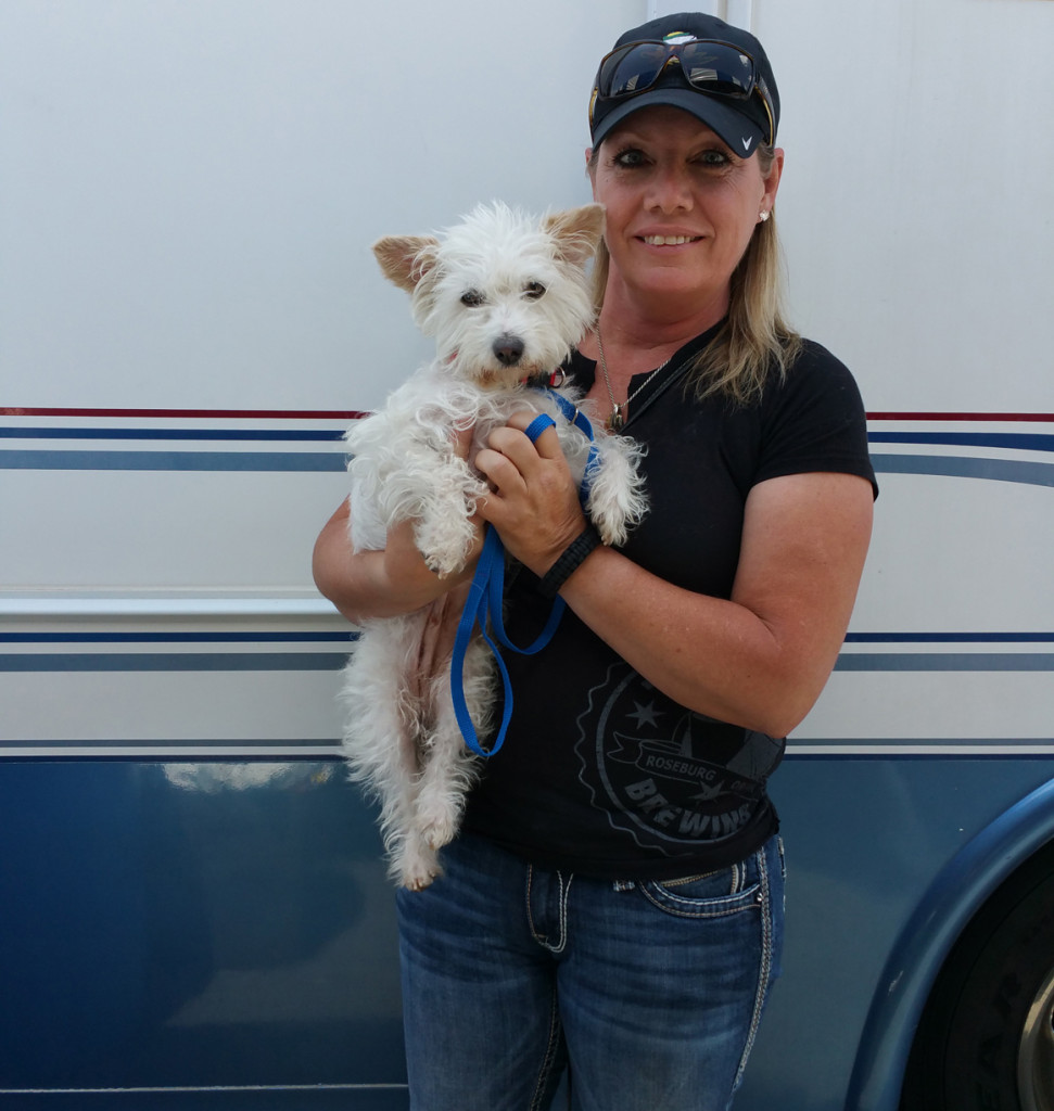 Kelly adopted Shasta at a PetSmart adoption event.  Shasta now travels the country with her semi-truck driving pet mom.