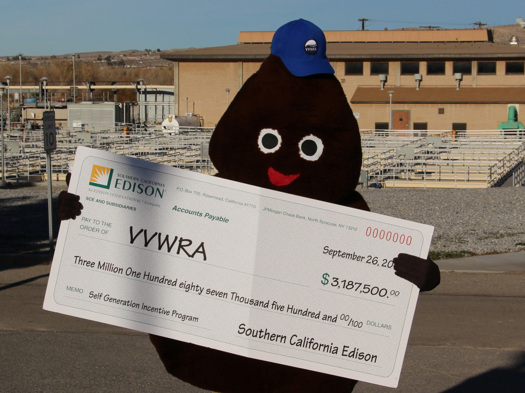 VVWRA mascot Mr. Dingle holds a grant check worth more than $3 million from SCE. In recent years, VVWRA has received over than $71 million dollars in grants and refunds. The grants have helped fund critically need infrastructure while saving VVWRA's customers millions of dollars.