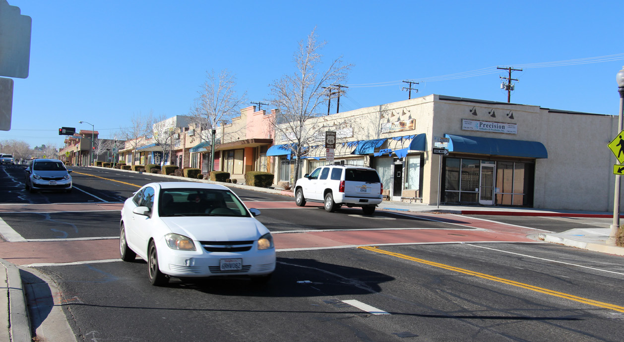 The intersection of 7th St. and C St. in Old Town Victorville.