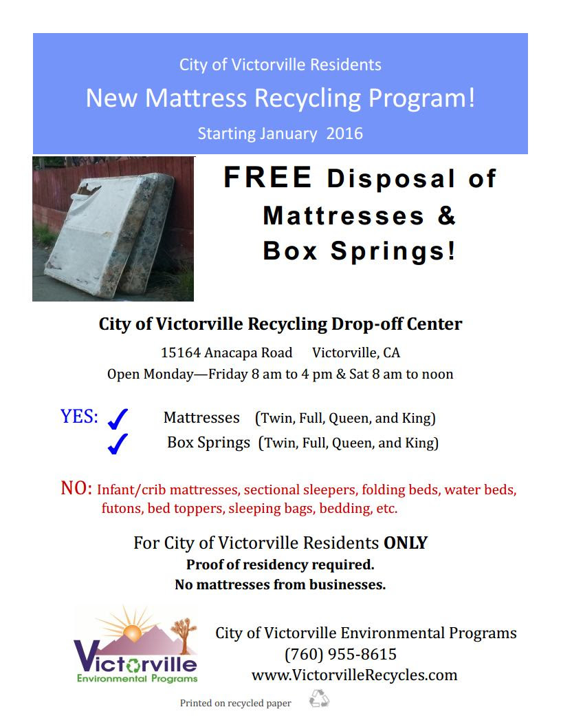 City of Victorville Announces New Mattress Recycling