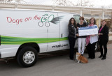 SWG Administrator/Public Affairs Stacy Woodbury and SWG Director/District Operations Sharon Rodriguez presents an $11,881.71 Fuel for Life check to VVAPL Humane Society Executive Director Kathy Williamson, VVAPL PR Rep. Terry Saenz and Ambassador Dog Millie
