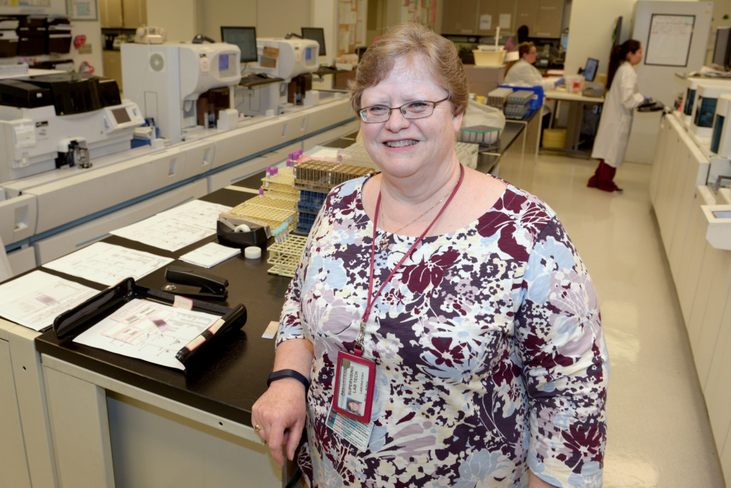 Environmental portrait of Billie Burch who has been a manager in the ARMC Clinical Lab Department.