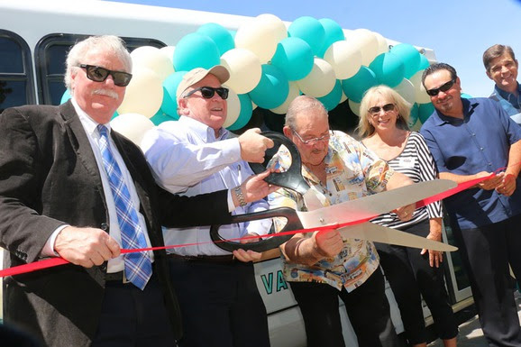 Community leaders celebrate during the VVTA Route 200 Needles Link ribbon cutting last week. The weekly Friday transit service, connecting Needles, Barstow, and Victorville, begins Friday, June 17. Joining in the festivities were, from left, San Bernardino Superior Court Presiding Judge Raymond Haight, San Bernardino County Board of Supervisors Vice Chair Robert Lovingood, City of Needles Mayor Ed Paget, Needles Chamber of Commerce President Pam Blake, City of Needles Council Member Shaun Gudmundson, and City of Needles Vice Mayor Jeff Williams.