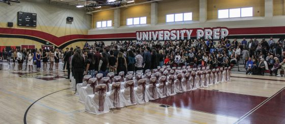 University Preparatory seniors prepare to receive awards at the school's baccalaureate ceremony in May