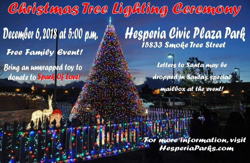 Christmas Tree In The Desert.City Of Hesperia Christmas Tree Lighting Ceremony 2018