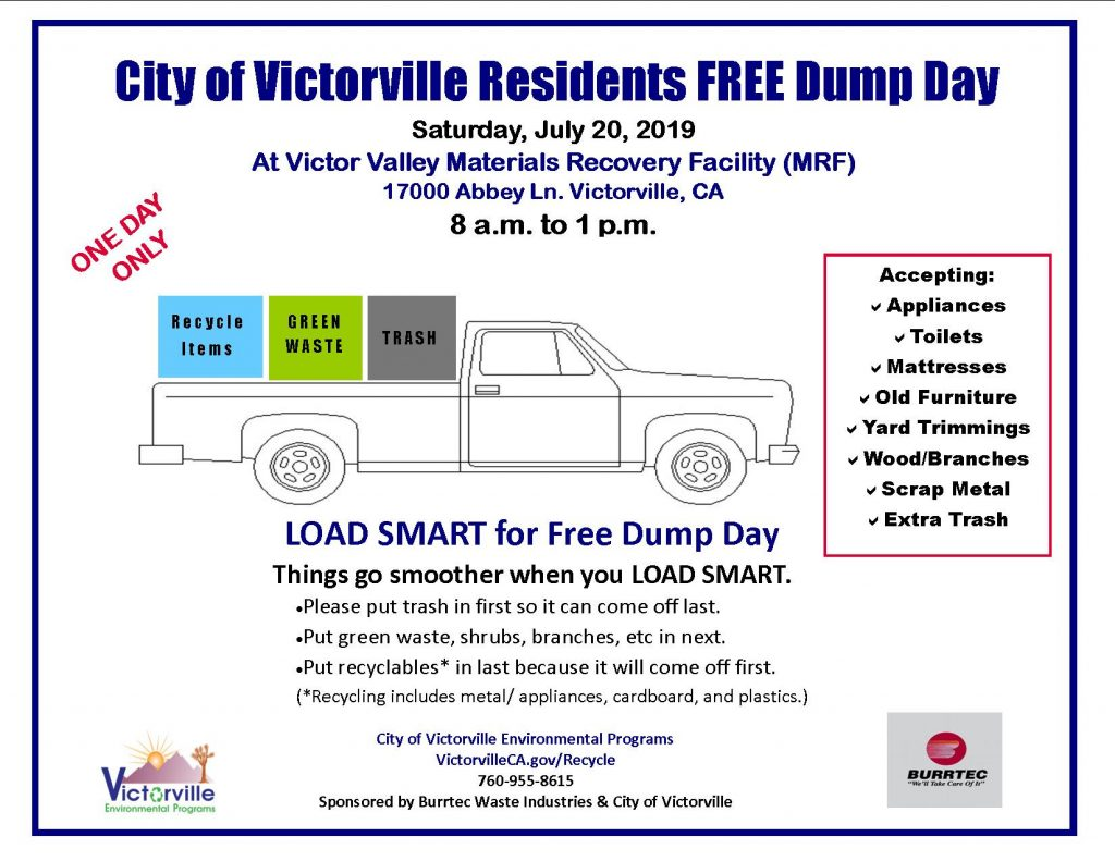 City of Victorville and Victorville Disposal to Sponsor Free